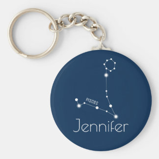 Personalized Pisces Zodiac Constellation Key Ring