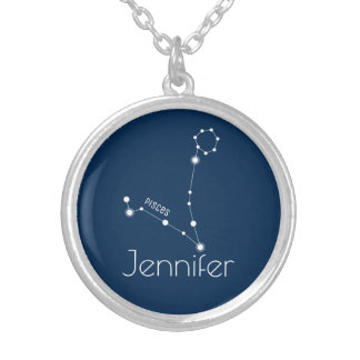 Personalized Pisces Zodiac Constellation Silver Plated Necklace