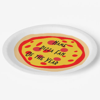 Personalized Pizza Fan of the Year Plates 9 Inch Paper Plate