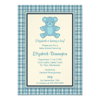 Personalized Plaid Bear Boy Baby Shower Invites