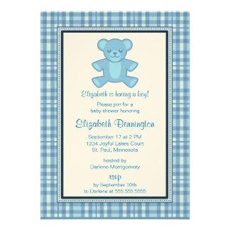 Personalized Plaid Bear Boy Baby Shower Invites