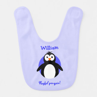 Personalized playful penguin blue bibs
