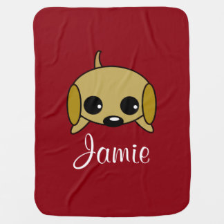 Personalized Playful Puppy Buggy Blankets