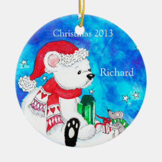 Personalized Polar Bear & Mouse Christmas Ornament