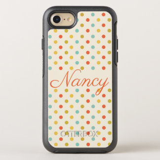 Personalized Polka Dots and Cream Tone OtterBox Symmetry iPhone 8/7 Case
