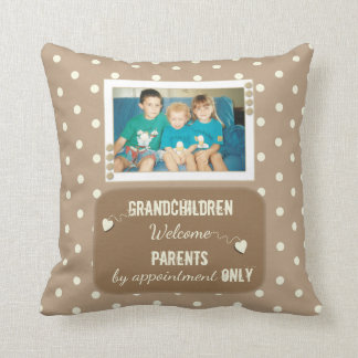 Personalized  Polka dots grandparents photo Cushion