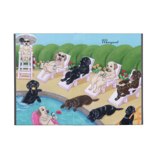 Personalized Poolside Party Labradors Cases For iPad Mini