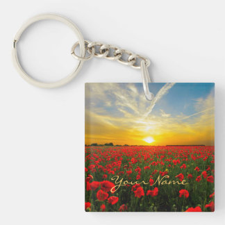 Personalized Poppy Field Sunset Horizon Key Ring