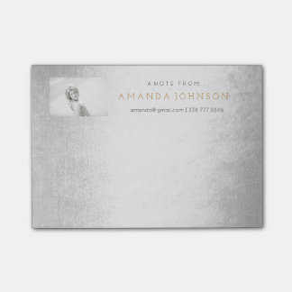 Personalized Post-it Note Corporate Glam Silver Post-it® Notes