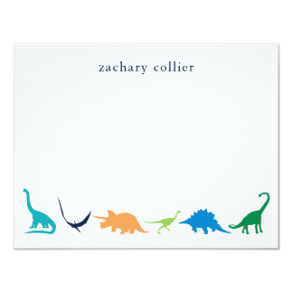 Personalized Preppy Dinosaur Thank You Stationery Card