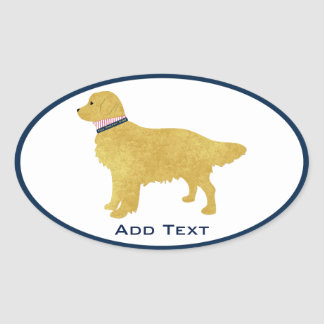 Personalized Preppy Golden Retriever Oval Sticker
