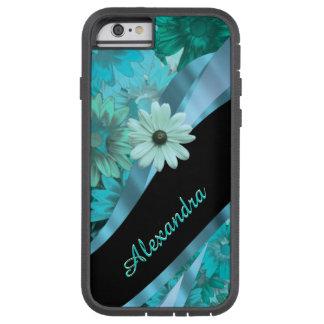 Personalized pretty aqua blue floral pattern tough xtreme iPhone 6 case