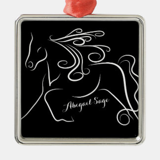 Personalized Pretty Black White Silhouette Horse Christmas Ornament