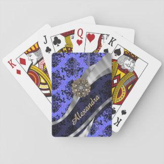 Personalized pretty blue girly damask pattern playing cards