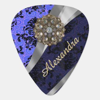 Personalized pretty blue girly damask pattern plectrum