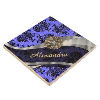 Personalized pretty blue girly damask pattern wood coaster
