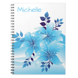 Personalized Pretty  Blue Lilies Spiral Notebook
