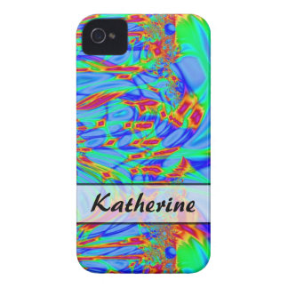 Personalized pretty blue turquoise red abstract Case-Mate iPhone 4 cases