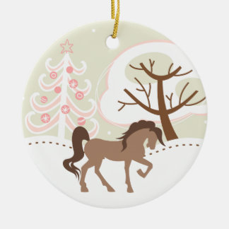 Personalized Pretty Brown Horse Snowy Pink Winter Round Ceramic Decoration
