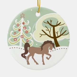 Personalized Pretty Brown Horse Snowy Winter Round Ceramic Decoration