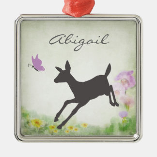 Personalized Pretty Doe and Butterfly Deer Holiday Silver-Colored Square Decoration