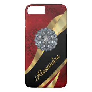 Personalized pretty elegant red damask pattern iPhone 8 plus/7 plus case