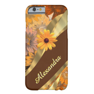 Personalized pretty fall colored floral pattern barely there iPhone 6 case