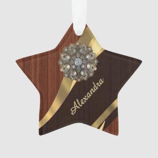 Personalized pretty faux Mahogany wood Ornament