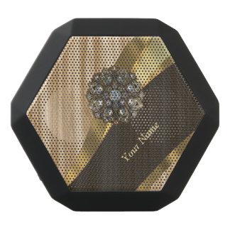 Personalized pretty faux oak wood black bluetooth speaker