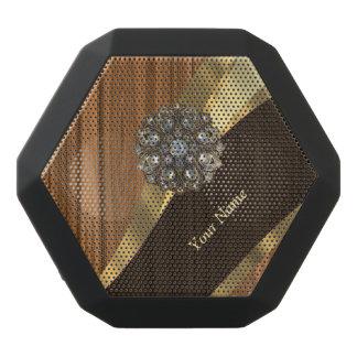 Personalized pretty faux pine wood black bluetooth speaker