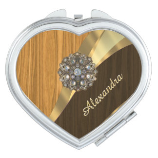 Personalized pretty faux pine wood compact mirror