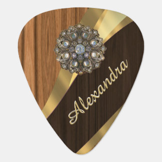 Personalized pretty faux pine wood grain guitar pick