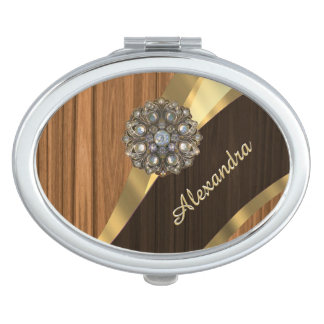 Personalized pretty faux pine wood grain mirror for makeup