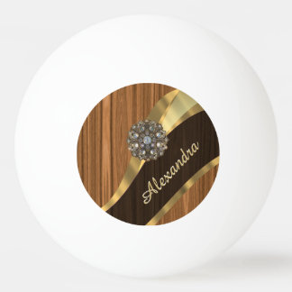 Personalized pretty faux pine wood grain ping pong ball