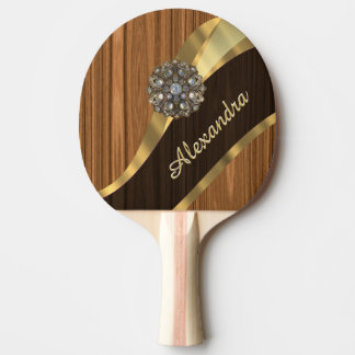 Personalized pretty faux pine wood grain ping pong paddle
