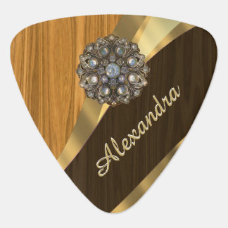 Personalized pretty faux pine wood guitar pick