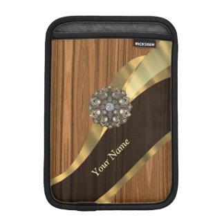 Personalized pretty faux pine wood iPad mini sleeve