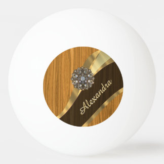 Personalized pretty faux pine wood ping pong ball