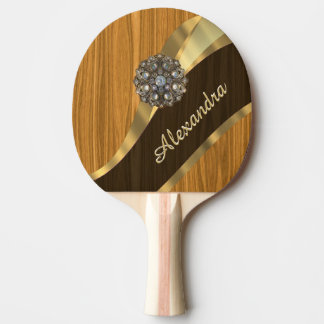 Personalized pretty faux pine wood ping pong paddle