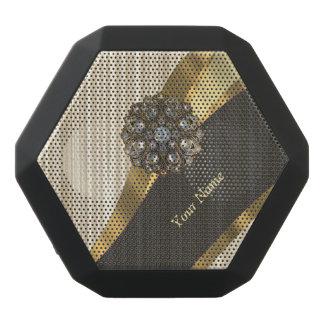 Personalized pretty faux wood black bluetooth speaker