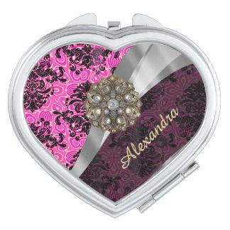 Personalized  pretty girly fuchsia damask pattern mirror for makeup