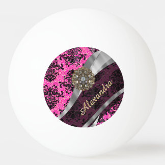 Personalized  pretty girly fuchsia damask pattern ping pong ball
