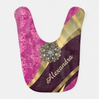 Personalized pretty girly pink damask pattern bib