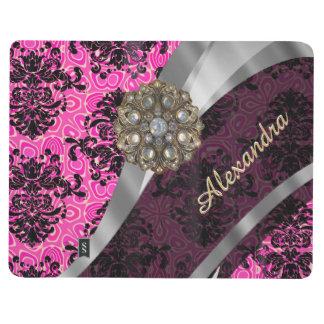 Personalized pretty girly pink damask pattern journal