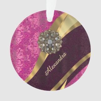 Personalized pretty girly pink damask pattern ornament