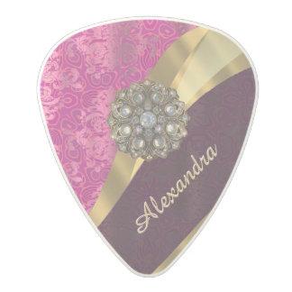 Personalized pretty girly pink damask pattern polycarbonate guitar pick