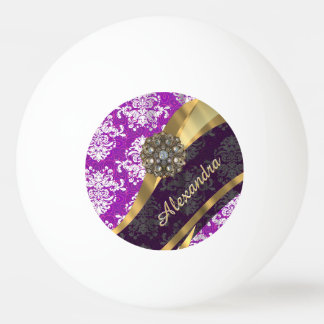 Personalized  pretty girly purple damask pattern ping pong ball