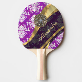 Personalized  pretty girly purple damask pattern ping pong paddle