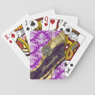 Personalized  pretty girly purple damask pattern playing cards
