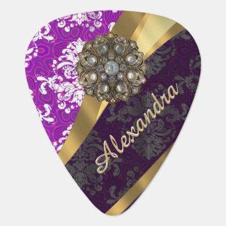 Personalized  pretty girly purple damask pattern plectrum